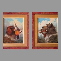 Pair Oil Portraits Terrier and Spaniel with Pheasant William Walker Morris