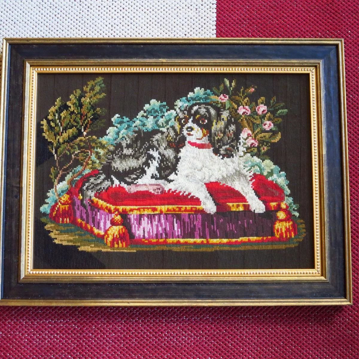 Antique Victorian Wool Embroidery Cavalier King Charles