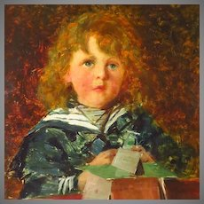 Alexander Mark Rossi Young Boy in Sailor Suit Stacking Cards