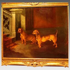 Two Dachshund Dogs in Interior Setting Oil Painting Early 20th Century