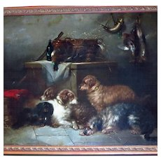 George Armfield Oil Painting Setters and Spaniel Resting After the Shoot