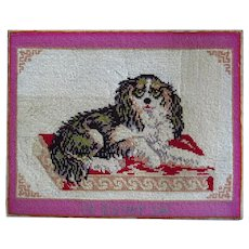 King Charles Spaniel Wool Work Embroidery Dated 1914