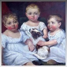 Three Young Children with Puppy Oil Portrait by James Ramsay Dated 1806
