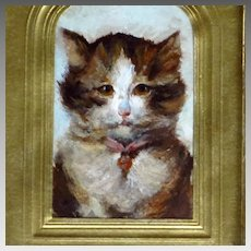 Miniature Oil Long Hair Tabby Cat Early 20th Century