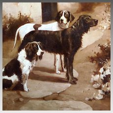 Alfred Duke Oil Portrait Three Dogs Setter Pointer Spaniel 'Waiting for the Master'