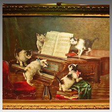 19th Century Kitten Oil Painting Signed