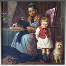 19th Century German Oil Painting Genre Scene Grandma Scolding Grandson