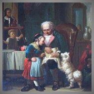 19th Century German Oil Painting Genre Scene Family Celebration