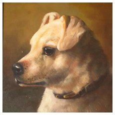 Antique White Terrier Dog Portrait English School