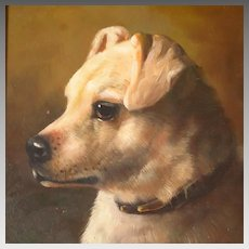 Antique White Terrier Dog Portrait English School