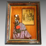 Antique Handmade Doll in Shadowbox Frame French Fashion Piece