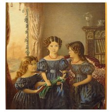 Antique Three Young Sisters Watercolor Gouache Painting