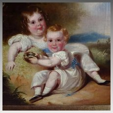 Antique Portrait Two Children Georgian Period Landscape Background