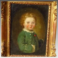 18th Century Oil Portrait Painting Young Boy