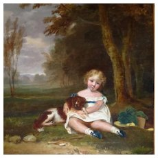 19th Century Painting Beautiful Young Girl Holding King Charles Spaniel in Landscape Setting