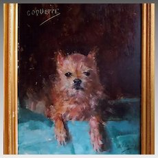 "Antique Terrier Portrait ""Coquette"" by Artist Marguerite Lagrost"