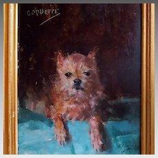 """Antique Terrier Portrait """"Coquette"""" by Artist Marguerite Lagrost"""