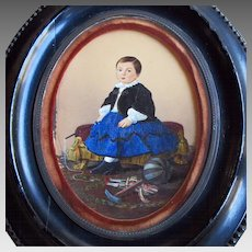 Small Antique French Painting of Young Boy with His Toys