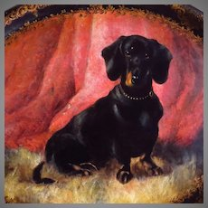 19th Century Dachshund Dog Painting on English Papier Mache Lacquer Tray