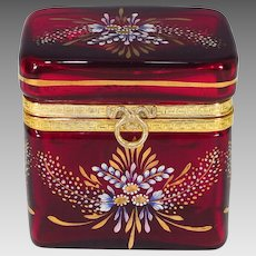 Antique French Ruby Red Glass Box Casket Hand Painted Enamel with Dore Bronze Mounts