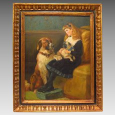 Oil on Copper Painting of Young Girl with Her Pet Dogs