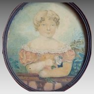 Early 19th Century Portrait Miniature Young Girl Watercolor Folk Art