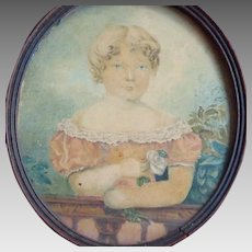 Folk Art Portrait Painting Young Girl Watercolor Miniature