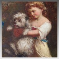 19th Century English School Young Girl Holding her Terrier