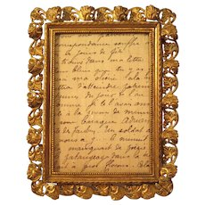Miniature French Picture Frame Gilt Brass