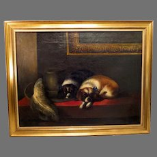 """19th Century Pair Cavalier King Charles Spaniels Oil Painting After Landseer's """"The Cavalier's Pets"""""""