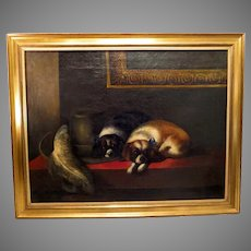 "19th Century Pair Cavalier King Charles Spaniels Oil Painting After Landseer's ""The Cavalier's Pets"""