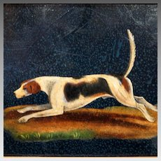 Antique Miniature Foxhound Hunting Dog Painting English School