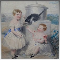 James Holmes (1777-1860) Watercolor Portrait of Children Playing Signed and Dated 1848