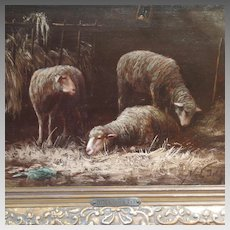Sheep in Stable 19th Century French Oil on Panel Painting Signed Noel Petit