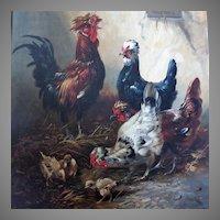 Henry Schouten Large Life-size Portrait of Chickens in Barnyard