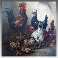 Henry Schouten Large Life-size Portrait of Chickens in Barnyard