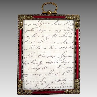 Red Guilloche Enamel Picture Frame Marked Germany