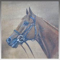 Thoroughbred Horse Portrait Equine Oil Painting Signed