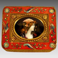 Antique French Limoges Enamel Portrait Miniature Set in Gilt Bronze Box Casket