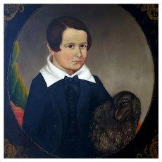 19th c American School Primitive Folk Art Oil Portrait Young Boy and His Dog