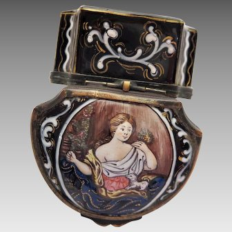 Antique Enamel Patch or Snuff Box Miniature Painting Woman and Dog