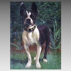 Boston Terrier Oil Portrait Dog Painting Signed VM c.1917