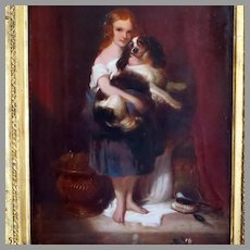Antique Portrait Young Girl Holding Her King Charles Spaniel