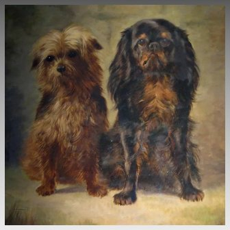 Large Oil Portrait King Charles Spaniel and Terrier