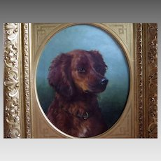 Large Portrait Brown Spaniel Dog in Fabulous Gold Gilt Frame Signed Carl Fey
