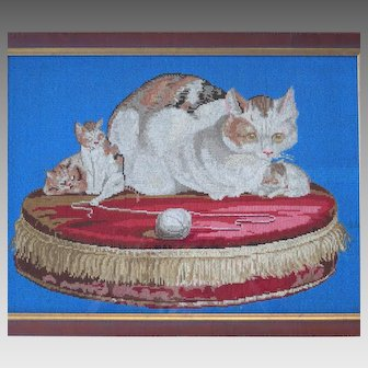 Rare Victorian Beaded Wool Embroidery Mother Cat and Kittens on Pillow