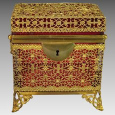 Antique Cranberry Glass Casket Box Filigree Ormolu
