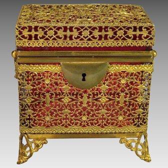 Antique Cranberry Glass Casket Box Filigree Ormolu