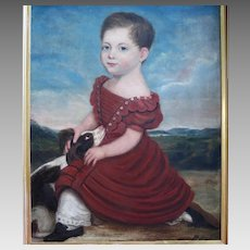 Early 19th Century  Oil Portrait Young Child Holding Spaniel