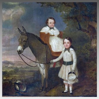 19th Century Oil Painting Two Children with Donkey in Landscape Setting